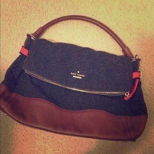 USED - Kate Spade Charcoal Suede & Velvet Handbag